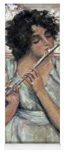 Lady Playing Flute Yoga Mat