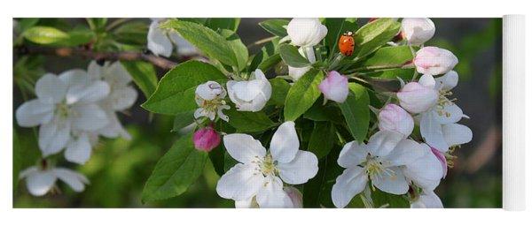 Ladybug On Cherry Blossoms Yoga Mat