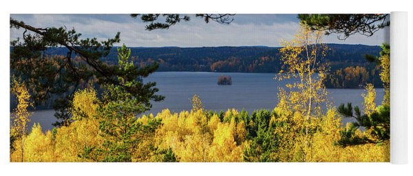 Lake Hiidenvesi Autumnscape 3 Yoga Mat
