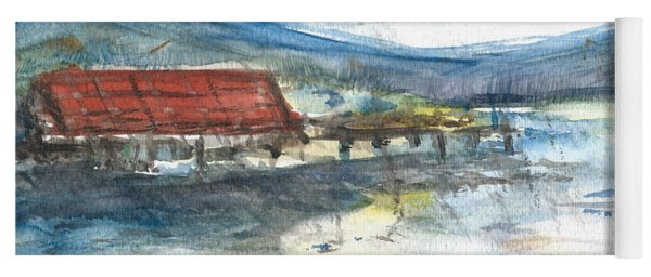 Yoga Mat featuring the painting Lake Leatherwood Eureka Springs Boat Dock  by Reed Novotny