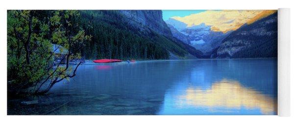 Lake Louise Autumn Bright Sunrise Banff National Park Yoga Mat