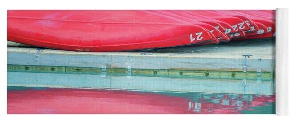 Lake Louise Red Canoes Painterly Yoga Mat