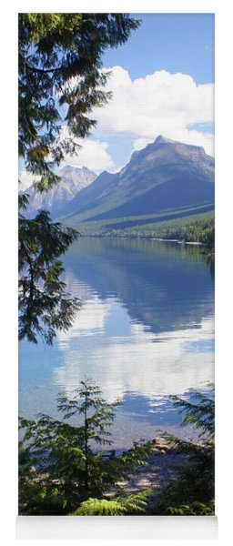 Lake Mcdlonald Through The Trees Glacier National Park Yoga Mat