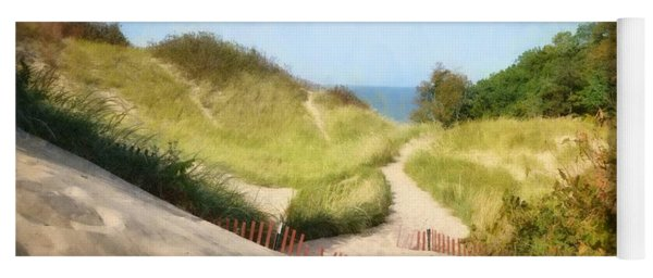Yoga Mat featuring the photograph lake Michigan Coastal Dune Path by Michelle Calkins
