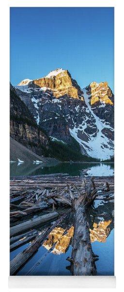 Lake Moraine Peaks Reflection Logscape Yoga Mat