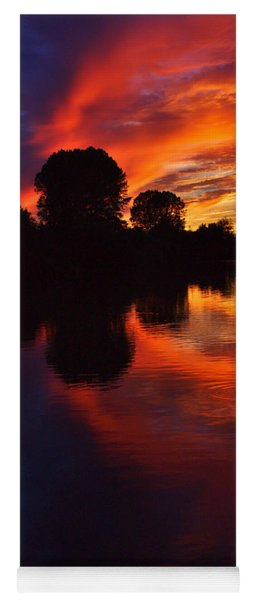Lake Sunset Reflections Yoga Mat