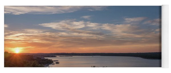Lake Travis During Sunset With Clouds In The Sky Yoga Mat