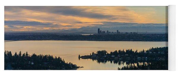 Lake Washington And The Seattle Skyline Aerial Yoga Mat
