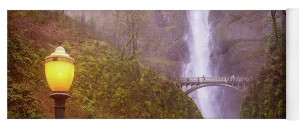 Yoga Mat featuring the photograph Lamplight At Multnomah Falls by Lynn Bauer
