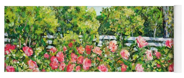 Landscape With Roses Fence Yoga Mat