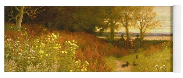 Landscape With Wild Flowers And Rabbits Yoga Mat
