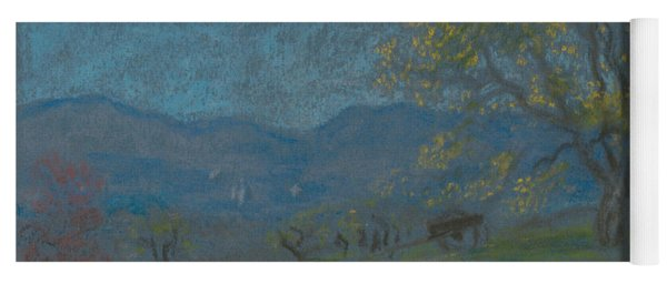 Landscape With Yellow Tree Yoga Mat