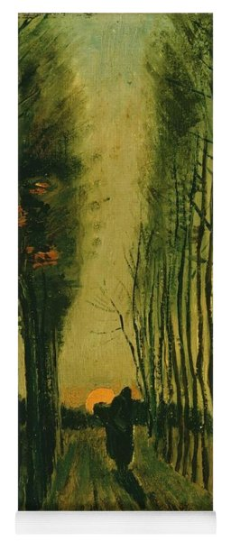 Yoga Mat featuring the painting Lane Of Poplars At Sunset by Van Gogh