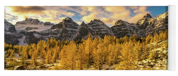 Larch Valley Golden Larches Touch Of Winter Yoga Mat