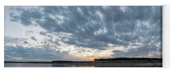 Large Panorama Of Storm Clouds Reflecting On Large Lake At Sunse Yoga Mat