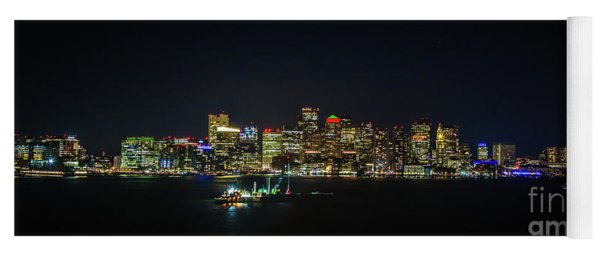 Large Panoramic Of Downtown Boston At Night Yoga Mat