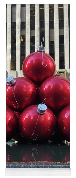Large Red Ornaments Yoga Mat
