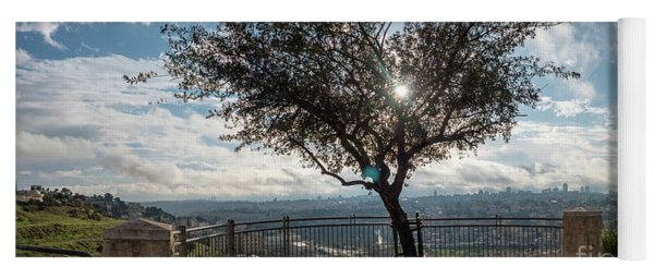 Large Tree Overlooking The City Of Jerusalem Yoga Mat