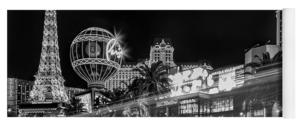 Las Vegas Strip Light Show Bw Yoga Mat