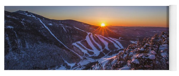 Last Winter Sunset Over Cannon Mountain Yoga Mat