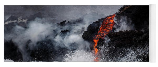 Lava Dripping Into The Ocean Yoga Mat