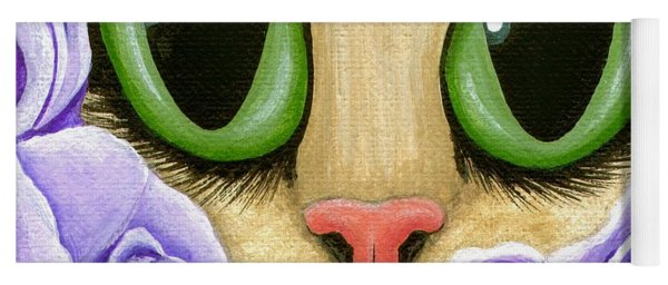 Lavender Roses Cat - Green Eyes Yoga Mat