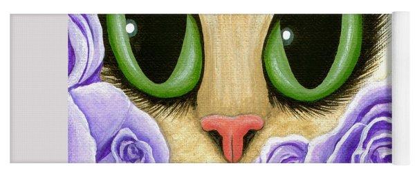 Lavender Roses Cat - Green Eyes Yoga Mat