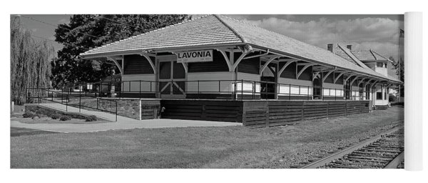 Yoga Mat featuring the photograph Lavonia Depot B W 1 by Joseph C Hinson Photography
