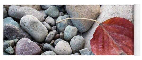 Leaf On River Rocks Yoga Mat