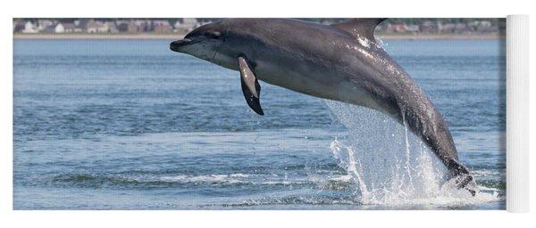Yoga Mat featuring the photograph Leaping Dolphin - Moray Firth, Scotland by Karen Van Der Zijden