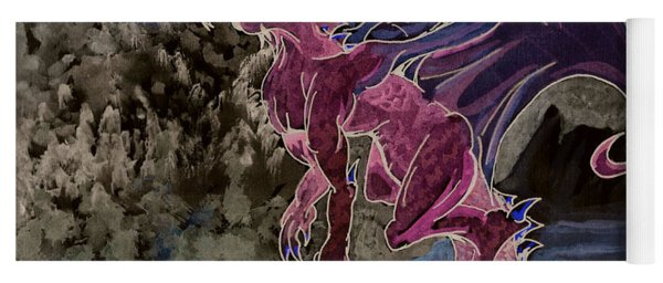 Yoga Mat featuring the mixed media Leaping Dragon 2 by Reed Novotny