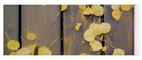 Leaves On Planks Yoga Mat