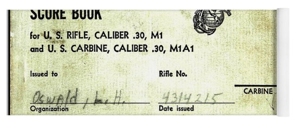 Lee Harvey Oswald 1956 U S Marine Corps Rifle Range Shooting Score Book Yoga Mat
