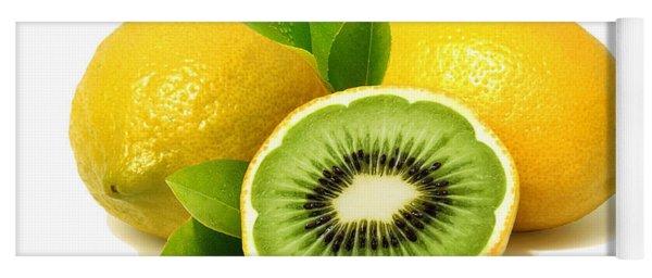 Yoga Mat featuring the digital art Lemon Kiwi by ISAW Company