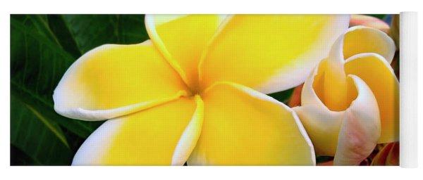 Lemon Yellow Plumeria Yoga Mat