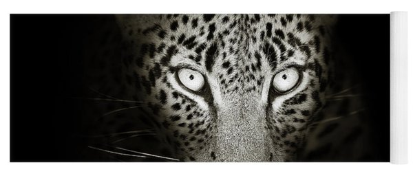 Leopard Portrait In The Dark Yoga Mat