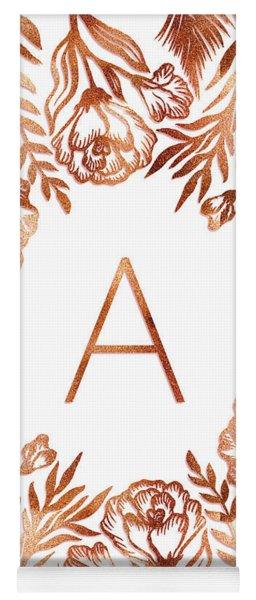 Letter A - Rose Gold Glitter Flowers Yoga Mat