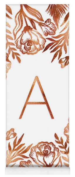 Letter A - Rose Gold Glitter Flowers Yoga Mat
