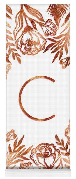 Letter C - Rose Gold Glitter Flowers Yoga Mat