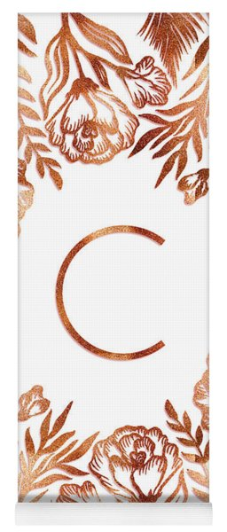Letter C - Rose Gold Glitter Flowers Yoga Mat