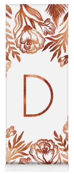 Letter D - Rose Gold Glitter Flowers Yoga Mat