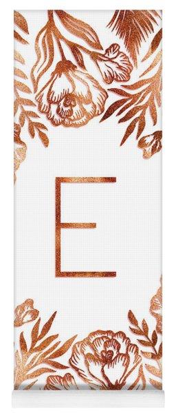 Letter E - Rose Gold Glitter Flowers Yoga Mat