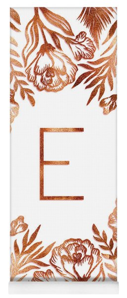 Letter E - Rose Gold Glitter Flowers Yoga Mat