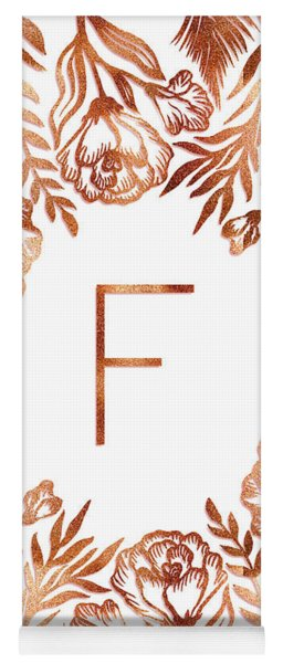 Letter F - Rose Gold Glitter Flowers Yoga Mat