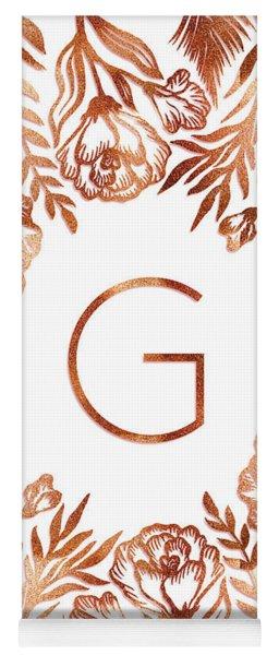 Letter G - Rose Gold Glitter Flowers Yoga Mat