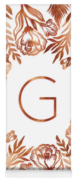 Letter G - Rose Gold Glitter Flowers Yoga Mat