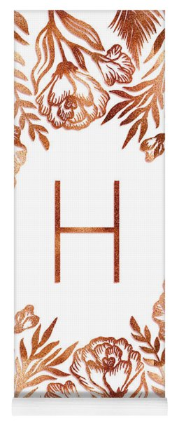 Letter H - Rose Gold Glitter Flowers Yoga Mat