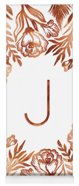 Letter J - Rose Gold Glitter Flowers Yoga Mat