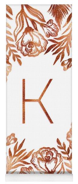 Letter K - Rose Gold Glitter Flowers Yoga Mat