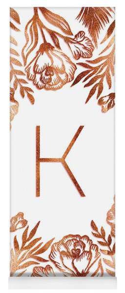 Letter K - Rose Gold Glitter Flowers Yoga Mat